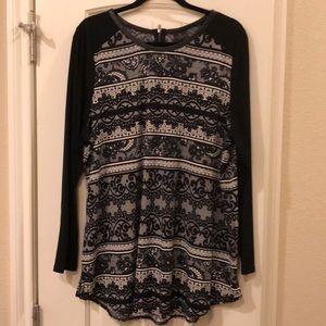 "Long Sleeve Black ""Lace"" Shirt"